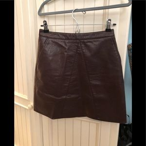 Zara basic faux leather skirt